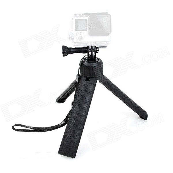 Fat Cat Multi-purpose Mini Handheld Tripod Grip for GoPro Hero 4 / 3 /2 / SJ 4000 / 5000 - Black three dimensional adjustable helmet side mount for gopro hero 3 3 2 1 black