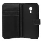 WB-0918 Protective Split Sheepskin Case w/ Stand + Card Slot for MOTO G2 - Black