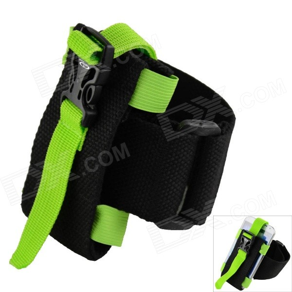 Oumily Outdoor Sports Gym Arm Band for Cell Phone - Black + Green universal nylon cell phone holster blue black size l