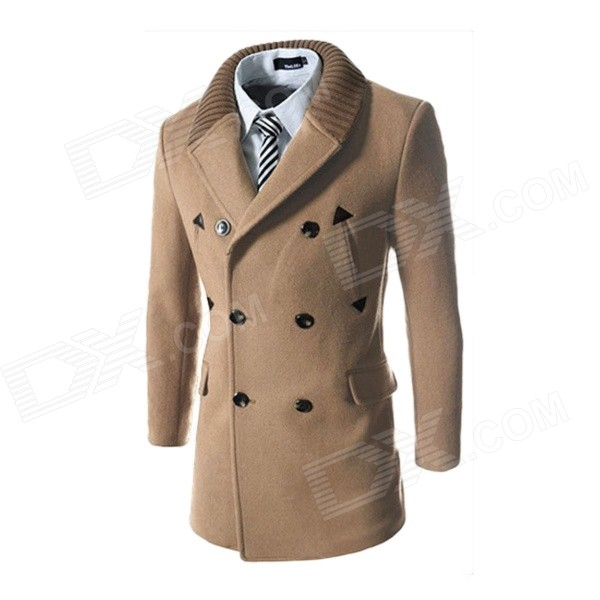 WS755 Men's Autumn and Winter Wear Threaded Collar Double-breasted Slim Coat - Khaki (XL)