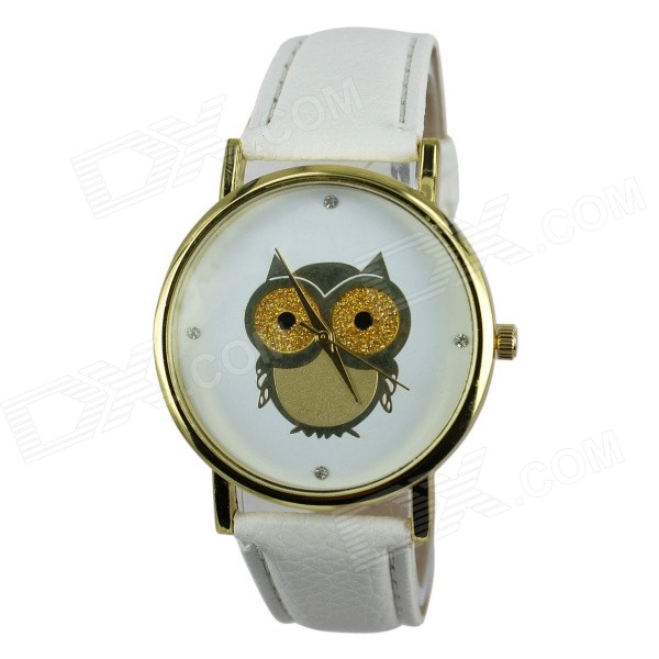 Women's Owl Pattern PU Band Analog Quartz Watch - White (1 x 377)
