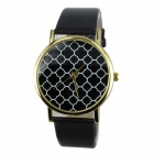Women's Casual Plum Blossom Pattern PU Band Quartz Analog Watch - Black (1 x 377)