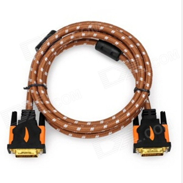 Yellow Knife YK019 DVI-D 24+1 pin HD DVI Cable w/ Gold-plated Connector - Brown + White (2m)