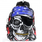 Men's Fashionable Skull Head Pirate Pattern Nylon Backpack - White + Black + Multi-Color