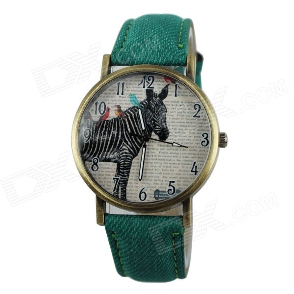 Women's Casual Zebra Style PU Band Quartz Analog Watch - Green (1 x 377)