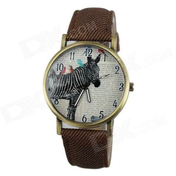 Women's Casual Zebra Style PU Band Quartz Analog Watch - Brown (1 x 377)