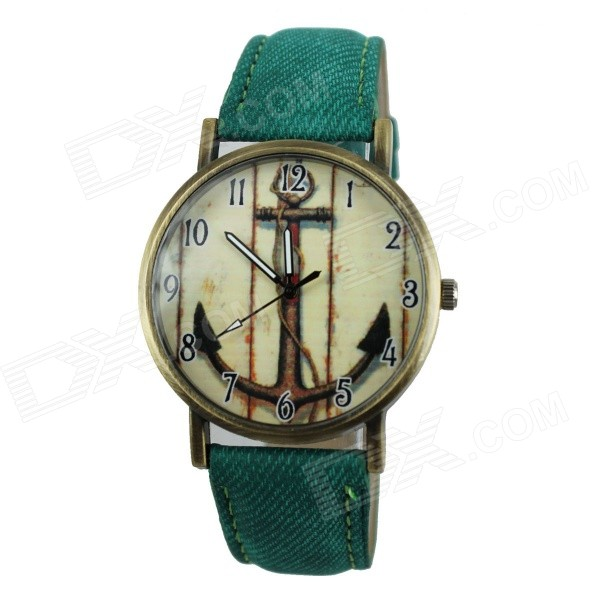 Women's Casual Anchor Style PU Band Quartz Analog Watch - Green (1 x 377)