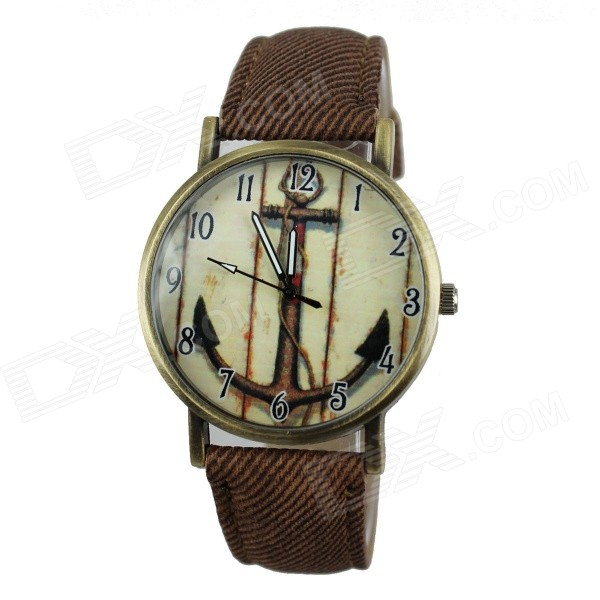 Women's Casual Anchor Style PU Band Quartz Analog Watch - Brown (1 x 377)