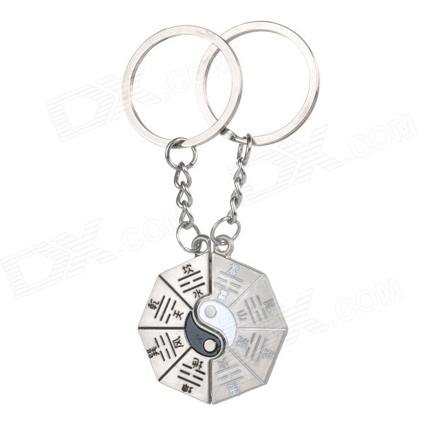 Auspicious 8-trigram Symbol Style Keyring / Key Chain for Couples / Lovers - Silver (Pair) lovers playing golf zinc alloy keychains silver pair