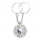 Auspicious 8-trigram Symbol Style Keyring / Key Chain for Couples / Lovers - Silver (Pair)