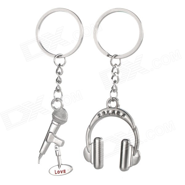Mini Microphone & Headphones Style Zinc Alloy Keyring / Key Chain for Couples / Lovers - Silver lovers playing golf zinc alloy keychains silver pair