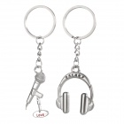 Mini Microphone & Headphones Style Zinc Alloy Keyring / Key Chain for Couples / Lovers - Silver