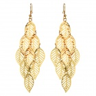 SHIYING A3404 Women's Fashionable Hollow-out  Leaf Shape Zinc Alloy Earrings Eardrops - Gold (Pair)