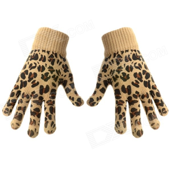 Fashion Leopard Style Touch Screen Gloves - Brown (Pair)