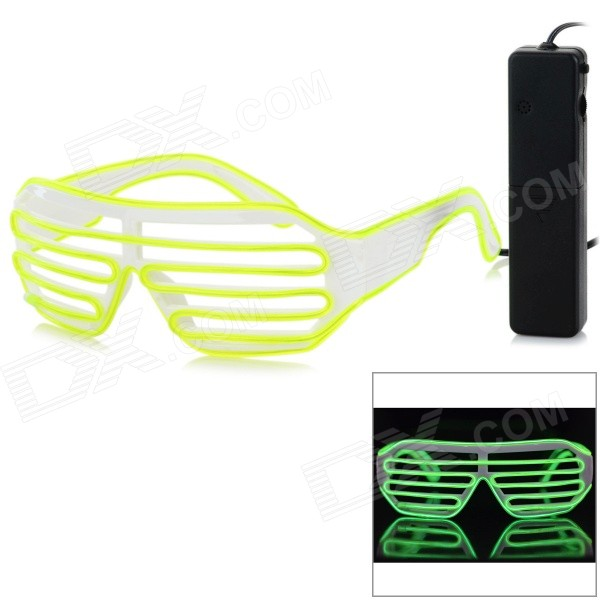 Sound Control Green LED 3-Mode Glasses - Fluorescent Yellow stylish led cold light evening party glasses yellow 2 x aa