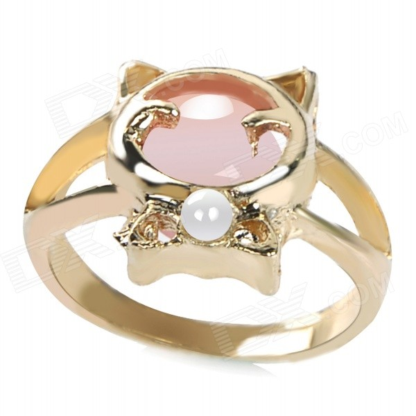 Women's Cute Cat Style Opal & Artificial Pearl Studded Alloy Ring - Gold + Pink (US Size: 8)