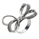 Women's Retro Bowknot Style Zinc Alloy Ring - Antique Silver (Size 11)