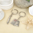 Book & Pen Style Zinc Alloy Keyring / Key Chain for Couples / Lovers - Silver + Black + Red (Pair)