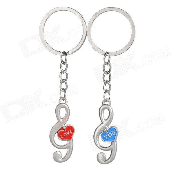 Music Note Style Zinc Alloy Keyring / Key Chain for Couples / Lovers - Silver + Blue + Red (Pair) lovers playing golf zinc alloy keychains silver pair