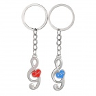 Music Note Style Zinc Alloy Keyring / Key Chain for Couples / Lovers - Silver + Blue + Red (Pair)