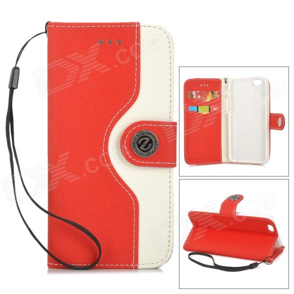 Protective Flip-Open PU Leather Case for IPHONE 6 - White + Red omo protective pu leather flip open case for iphone 4 4s white