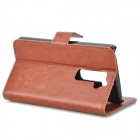 Protective PU Leather Flip-Open Case w/ Stand / Card Slot for LG G2 - Brown