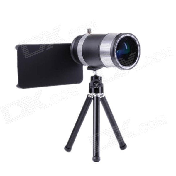 14X Zoom Wide Angle Telephoto Lens Telescope for IPHONE 4 / 4S / 5S - Silver + Black detachable 14x camera zoom optical telescope telephoto lens set for iphone 4 4s silver black