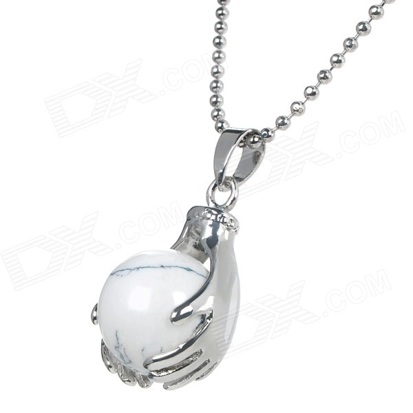 Unisex Rotatable Turquoise Ball in Hands Style Pendant Necklace - White + Silver