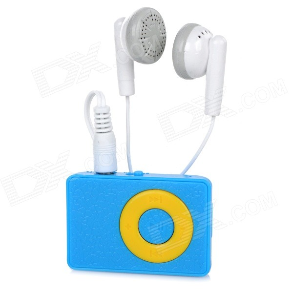 Wood Grain Style MP3 Player w/ Clip / TF / Mini USB / 3.5mm Jack - Blue + Yellow