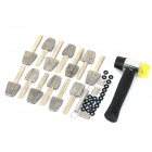ZS-HK-158-13 Noiseless Kaba Bump Lock Keys + Hammer Lock Pick Opener Tool Set - Silvery Grey + Black