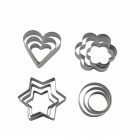 DIY Stainless Steel Biscuit / Chocolate Moulds Cookie Cutters Set - Silver (4 x 3PCS)