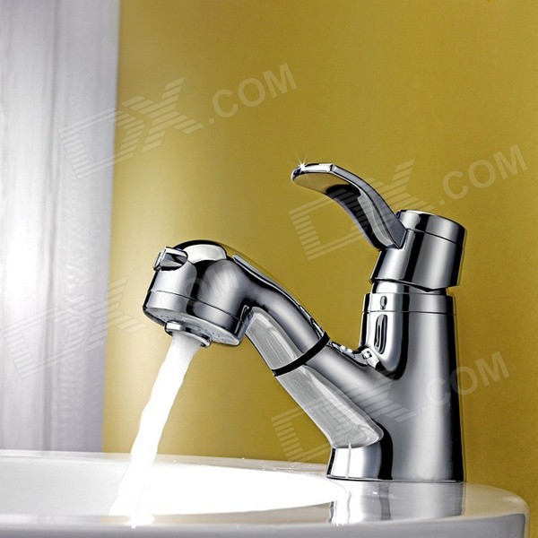 PHASAT Solid Brass Pull Out Bathroom Sink Faucet - Silver brass pull out spray kitchen faucet brushed nickel pull down dual function spout sprayer kitchen sink faucets