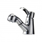 PHASAT Solid Brass Pull Out Bathroom Sink Faucet - Silver