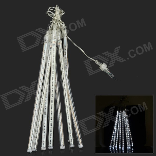 10W 320lm 6500K 144-LED White Meteor Rain Style Light Tube Light String - Transparent (110~240V)