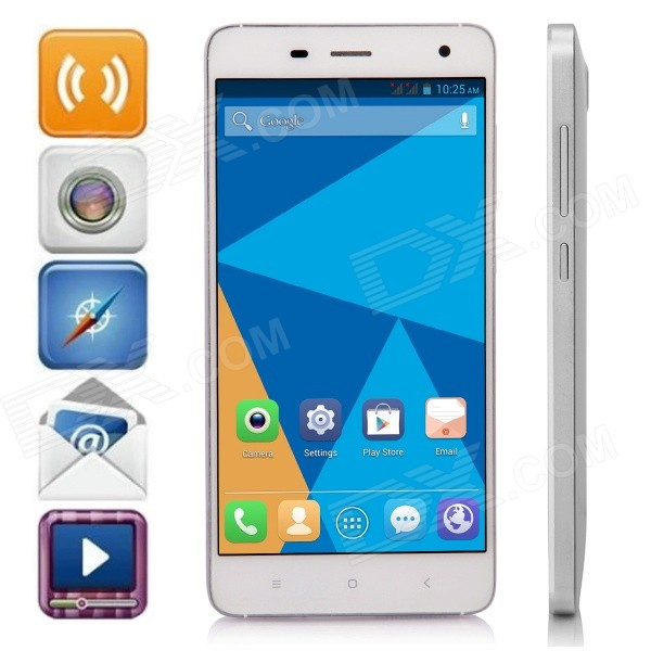 DOOGEE HITMAN DG850 Android 4.4 Quad-Core WCDMA Bar Phone w/ 5.0 IPS, 16GB ROM, GPS - White m pai 809t mtk6582 quad core android 4 3 wcdma bar phone w 5 0 hd 4gb rom gps black