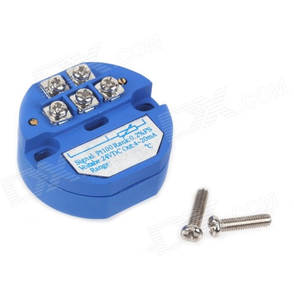 ZnDiy-BRY SBWZ RTD PT100 0~100'C DC 24V 20mA Temperature Sensor Transmitter Module - Deep Blue can be pasted type three wire pt100 thermal resistance platinum resistance surface heat resistance temperature sensor 1m