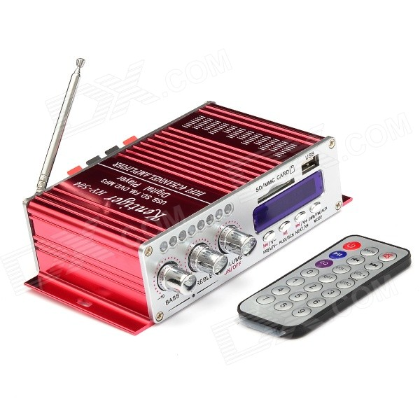"HY504 2"" LED 4-CH 100W Hi-Fi Stereo Amplifier MP3 Player w/ FM / SD / USB for Car / Motorcycle - Red"