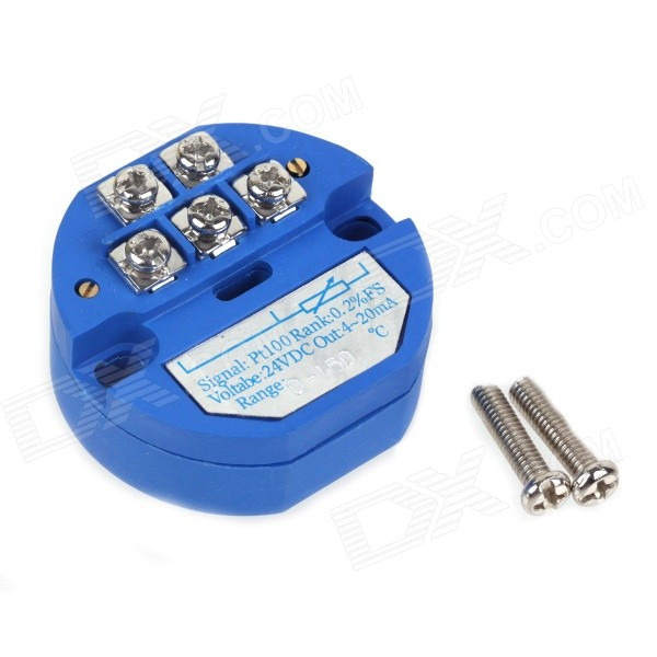 ZnDiy-BRY SBWZ RTD PT100 0~150'C DC 24V 20mA Temperature Sensor Transmitter Module - Deep Blue can be pasted type three wire pt100 thermal resistance platinum resistance surface heat resistance temperature sensor 1m