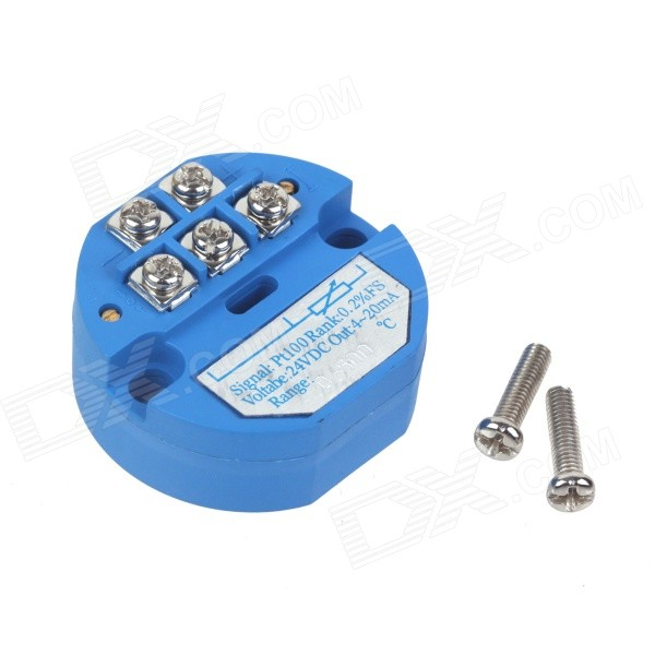 ZnDiy-BRY SBWZ RTD PT100 0~500'C DC 24V 20mA Temperature Sensor Transmitter Module - Deep Blue can be pasted type three wire pt100 thermal resistance platinum resistance surface heat resistance temperature sensor 1m