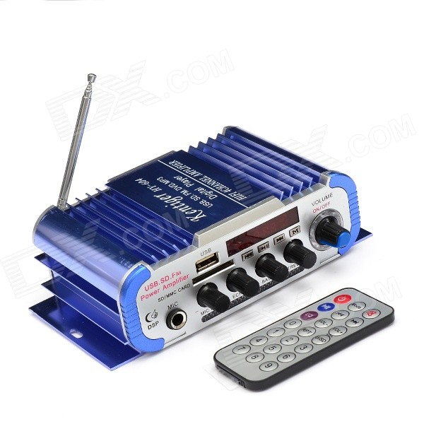 T604 1.8 LCD 80W Hi-Fi Amplifier MP3 Player w/ SD / USB for Car / Motorcycle - Blue + Silver 160w hi fi stereo amplifier mp3 player for car motorcycle blue silver sd usb
