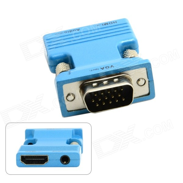 CY HD-173-BL HDMI Female to VGA Male Adapter w/ Audio Output for PC / Laptop + More - BlueComputer Cable&amp;Adapter<br>Form  ColorBlueModelHD-173-BLQuantity1 DX.PCM.Model.AttributeModel.UnitShade Of ColorBlueMaterialABSInterfaceOthers,HDMI to VGAPacking List1 x Adapter<br>
