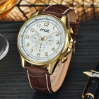MCE Men's Fashion PU Band Analog Mechanical Wrist Watch - Brown + White + Multi-Color