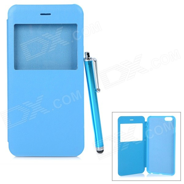 Protective Flip-Open PU + PC Case w/ Capacitive Screen Stylus Touch Pen for IPHONE 6 PLUS - Blue protective flip open pu pc case w front window stylus pen for iphone 6 plus white
