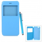 Protective Flip-Open PU + PC Case w/ Capacitive Screen Stylus Touch Pen for IPHONE 6 PLUS - Blue