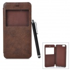 Protective Flip-Open PU + PC Case w/ Capacitive Screen Stylus Touch Pen for IPHONE 6 PLUS - Coffee