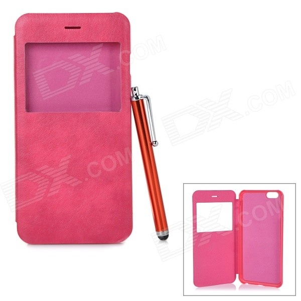 Protective Flip-Open PU Case w/ Capacitive Screen Stylus Touch Pen for IPHONE 6 PLUS - Deep Pink protective flip open pu pc case w front window stylus pen for iphone 6 plus white