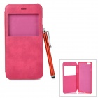 Protective Flip-Open PU Case w/ Capacitive Screen Stylus Touch Pen for IPHONE 6 PLUS - Deep Pink