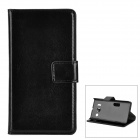 Protective PU Leather Flip-Open Case w/ Stand for Huawei Y300 - Black