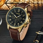 MCE Men's PU Band Self-Winding Analog Mechanical Wristwatch - Brown + Black + Multi-Color