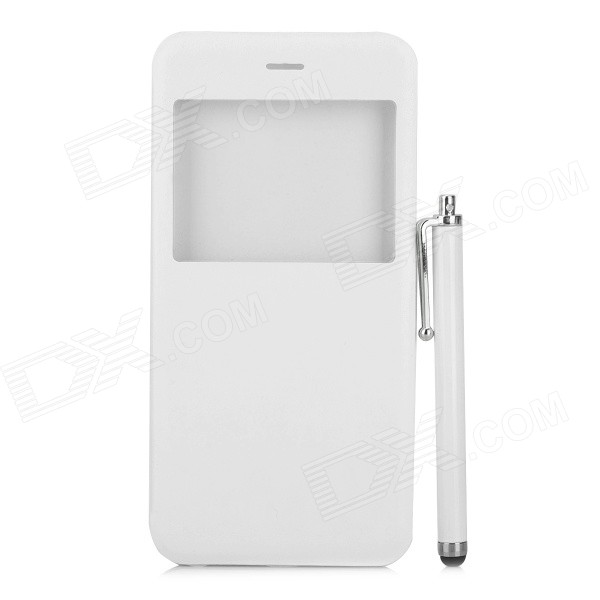 Protective Flip-Open PU + PC Case w/ Front Window / Stylus Pen for IPHONE 6 PLUS - White mo mat ultrathin flip open pc case w display window for iphone 6 plus 5 5 blue